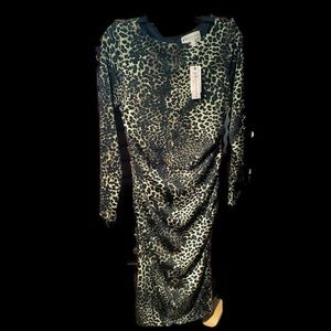 NWT Philosophy Leopard Ruched Midi Dress Large